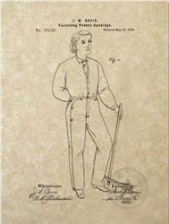 Патент США № 139121 на джинсовый комбинезон
